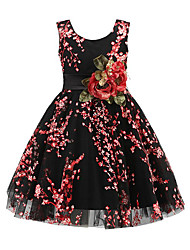 Girl's Daily Going out Solid Floral Flower/Floral Dress,Cotton Polyester Spring, Fall, Winter, Summer All Seasons Sleeveless Vintage Cute