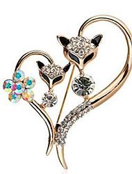 Недорогие -Жен. Броши Синтетический алмаз Классика Мода Искусственный бриллиант Сплав Сердце Лиса Бижутерия Назначение Повседневные Официальные