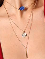 cheap -Women's Geometric Shape Colorful Fashion Layered Necklace Statement Necklace Multi-stone Resin Copper Alloy Layered Necklace Statement