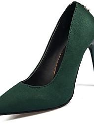 preiswerte -Damen Schuhe Wildleder Frühling Sommer Pumps High Heels Stöckelabsatz Spitze Zehe Für Kleid Schwarz Grün Wein