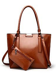baratos -Mulheres Bolsas PU Conjuntos de saco 2 Pcs Purse Set Ziper Vermelho / Cinzento / Marron