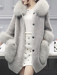 Women's Daily Going out Simple Casual Winter Fall Fur Coat,Solid Hooded Long Sleeves Regular Faux Fur