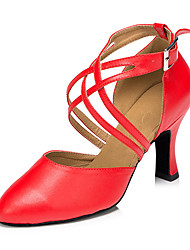 cheap -Women's Modern Leatherette Sandal Sneaker Professional Chunky Heel Red Black