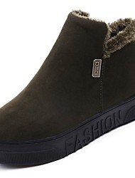 cheap -Women's Shoes Nubuck leather Suede Winter Combat Boots Fluff Lining Boots Creepers Round Toe Booties/Ankle Boots for Casual Black Gray