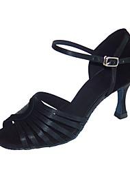 Недорогие -Жен. Обувь для латины Бархатистая отделка / Сатин Сандалии / На каблуках Профессиональный стиль Каблуки на заказ Персонализируемая