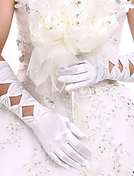 cheap -Stretch Satin Elbow Length Glove Bridal Gloves / Party / Evening Gloves With Pearl / Ruffles
