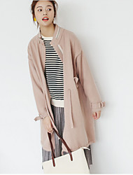 Women's Daily Wear Going out Long Cardigan,Solid Round Neck Long Sleeves Acrylic Spring/Fall Medium strenchy
