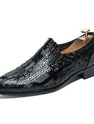 preiswerte -Herrn Schuhe Leder Frühling Sommer formale Schuhe Outdoor Niete für Hochzeit Party & Festivität Schwarz