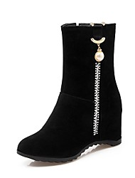 cheap -Women's Shoes Leatherette Winter Comfort Boots Wedge Heel Round Toe Booties / Ankle Boots Rhinestone for Party & Evening / Dress Black
