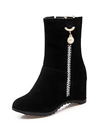 abordables -Femme Chaussures Similicuir Hiver Confort Bottes Hauteur de semelle compensée Bout rond Bottine / Demi Botte Strass pour Soirée &