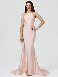 Mermaid / Trumpet Halter Sweep / Brush Train Stretch Satin Formal Evening Dress with Pleats by TS Couture®