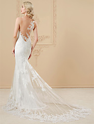 cheap -Mermaid / Trumpet Illusion Neckline Chapel Train Lace Satin Wedding Dress with Appliques Lace by LAN TING BRIDE®