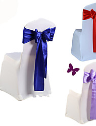 cheap -10Pcs/Set Wedding Chair Cover Sash Bow Tie Ribbon Decoration Wedding Party Supplies