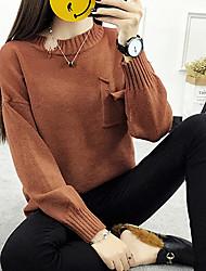 Corto Pullover Da donna-Casual Tinta unita Dolcevita Manica lunga Acrilico Autunno Inverno Medio spessore Media elasticità