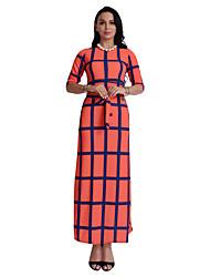 cheap -Women's Daily Sheath Dress,Plaid Round Neck Maxi Half Sleeve Polyester All Season Mid Rise Micro-elastic Opaque