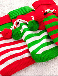 abordables -Chat Chien Pull Noël Vêtements pour Chien Rayure Blanc Rouge Vert Autre matériel Costume Pour les animaux domestiques nouveau Décontracté