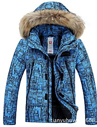 cheap -Men's Ski Jacket Warm Waterproof Windproof Breathability Ski / Snowboard Hiking Cross-Country Faux Fur Cotton Eco-friendly Polyester