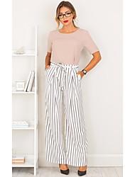 economico -Da donna A vita medio-alta Casual Media elasticità A zampa Pantaloni,A strisce Inverno Autunno