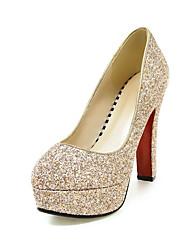 Недорогие -Для женщин Обувь Дерматин Весна Осень Удобная обувь Обувь на каблуках Круглый носок Назначение Для праздника Золотой Белый Синий Розовый