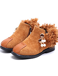 Girls' Shoes PU Winter Comfort Fashion Boots Bootie Flower Girl Shoes Boots Booties/Ankle Boots Imitation Pearl Zipper Tassel for Casual