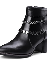 cheap -Women's Shoes Leatherette Winter Spring Comfort Fur Lining Boots Chunky Heel Pointed Toe Booties/Ankle Boots Sequin for Casual Black Gray