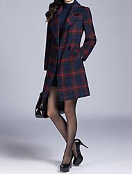 economico -Cappotto Da donna Casual Semplice Autunno Inverno,A quadri A V Cotone Standard Maniche lunghe