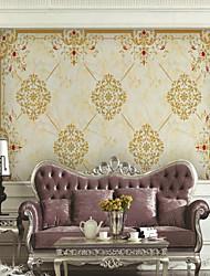 abordables -Floral Art Decó 3D Fondo de pantalla Para el hogar Moderno Clásico Rústico Revestimiento de pared , Lienzos Material adhesiva requerida