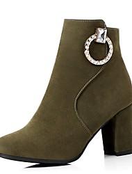 abordables -Mujer Zapatos Semicuero Otoño / Invierno Botas de Moda Botas Dedo redondo Botines / Hasta el Tobillo Hebilla para Vestido Negro / Verde /
