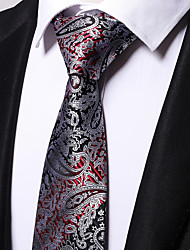 cheap -Men's Polyester Necktie,Casual Floral All Seasons Black