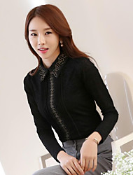 Women's Daily Wear Sophisticated Shirt,Solid Embroidery Shirt Collar Long Sleeves Cotton