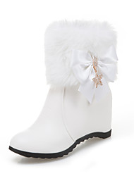 cheap -Women's Shoes Leatherette Fall / Winter Fashion Boots Boots Round Toe Booties / Ankle Boots Buckle for Dress White / Black / Pink