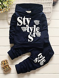cheap -Boys' Letter Clothing Set, Cotton Acrylic All Seasons Long Sleeves Cute Casual Active Navy Blue Gray