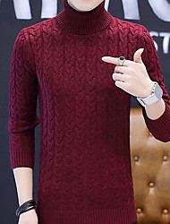 cheap -Men's Daily Going out 13.39inch(34cm) Pullover,Solid Turtlenecks Long Sleeves Acrylic Winter Fall Thick High Elasticity