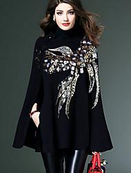 Lungo Pullover Da donna-Da tutti i giorni Con stampe A collo alto Manica lunga Poliestere Inverno Autunno Medio spessore Elasticizzato