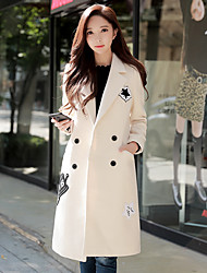 cheap -DABUWAWA Women's Daily Work Simple Vintage Casual Winter Coat,Solid Letter Peak Long Sleeves Long Wool Polyester Patchwork