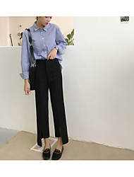 Feminino Simples Cintura Alta Sem Elasticidade Perna larga Chinos Calças,Perna larga Chinos Sólido