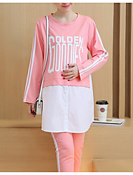 cheap -Women's Suits Pajamas,Sexy Letter & Number Cotton Light gray Blushing Pink Black