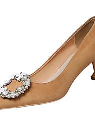 Women's Shoes PU Winter Comfort Heels For Sports & Outdoor Khaki Black