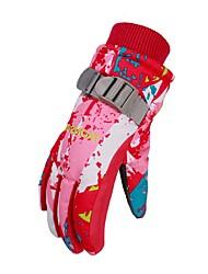 Winter Gloves Kid's Keep Warm Waterproof Rain-Proof Printable Polyester Skiing Ski & Snowboard Winter