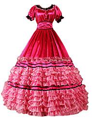 abordables -Rétro Victorien Gothique Epoque Médiévale Costume Femme Robes Costume de Soirée Bal Masqué Rouge Vintage Cosplay Autre Manches Courtes