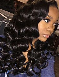 cheap -Women Human Hair Lace Wig Brazilian Human Hair Glueless Lace Front 150% Density With Baby Hair Body Wave Wig Black Long Natural Hairline