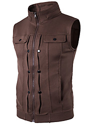 cheap -Men's Daily Simple Casual Fall Vest,Solid Stand Sleeveless Regular Others