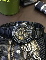 cheap -Men's Mechanical manual-winding Skeleton Watch Chinese Hot Sale Metal Band Cool Black Silver