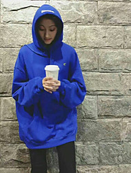 Women's Daily To-Go Hoodie Solid Hooded Stretchy Polyester Long Sleeves Fall/Autumn