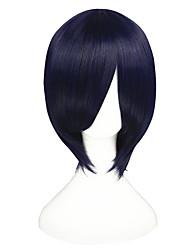 abordables -Pelucas sintéticas Liso Natural Pelo sintético Azul Peluca Mujer Corta Sin Tapa