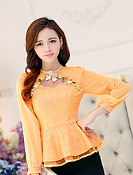 cheap -Women's Casual Casual Spring Blouse,Floral Stand Long Sleeves Cotton Medium