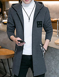 cheap -Men's Daily Simple Casual Fall Regular Coat,Solid Hooded Cotton