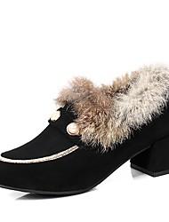 preiswerte -Damen Schuhe Kunstleder Winter Modische Stiefel High Heels Runde Zehe Booties / Stiefeletten Schnalle Schwarz / Orange / Wein / Kleid