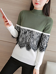 cheap -Women's Daily Regular Pullover,Print Color Block Round Neck Long Sleeves Acrylic Winter Fall Medium Micro-elastic