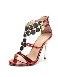 Tacón Stiletto-Zapatos del club Innovador-Sandalias-Boda Vestido Fiesta y Noche-Cuero Patentado-Rojo Plata Oro